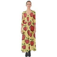 Healthy Apple Fruit Button Up Boho Maxi Dress by Alisyart