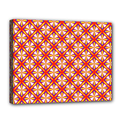 Hexagon Polygon Colorful Prismatic Canvas 14  X 11  (stretched)