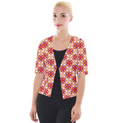 Hexagon Polygon Colorful Prismatic Cropped Button Cardigan