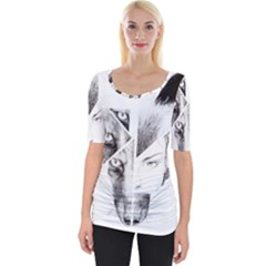 Wolf Girl Wide Neckline Tee by Alisyart