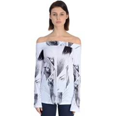 Wolf Girl Off Shoulder Long Sleeve Top by Alisyart