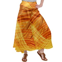 Wave Background Satin Palazzo Pants
