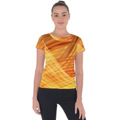 Wave Background Short Sleeve Sports Top  by Alisyart