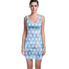 Hemp Pattern Blue Bodycon Dress