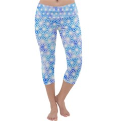 Hemp Pattern Blue Capri Yoga Leggings