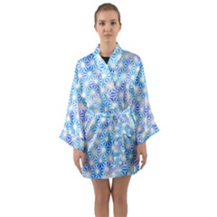 Hemp Pattern Blue Long Sleeve Kimono Robe