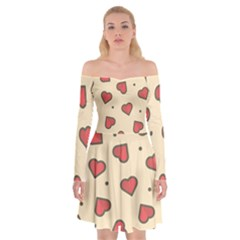 Love Heart Seamless Valentine Off Shoulder Skater Dress