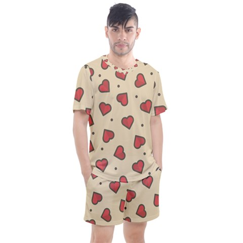 Love Heart Seamless Valentine Men s Mesh Tee And Shorts Set by Alisyart