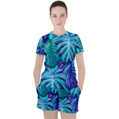 Leaves Tropical Palma Jungle Women s Tee And Shorts Set by Alisyart