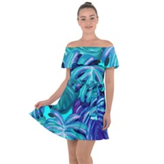 Leaves Tropical Palma Jungle Off Shoulder Velour Dress by Alisyart