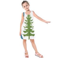 1  Forest Christmas Tree Spruce Kids  Sleeveless Dress