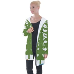 1  Forest Christmas Tree Spruce Longline Hooded Cardigan by AnjaniArt