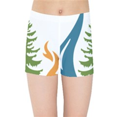 1  Forest Christmas Tree Spruce Kids  Sports Shorts by AnjaniArt