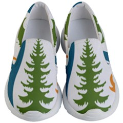 1  Forest Christmas Tree Spruce Kids  Lightweight Slip Ons by AnjaniArt