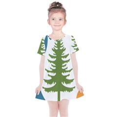 1  Forest Christmas Tree Spruce Kids  Simple Cotton Dress