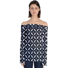 Abstract Background Arrow Off Shoulder Long Sleeve Top by AnjaniArt