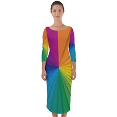 Abstract Pattern Lines Wave Quarter Sleeve Midi Bodycon Dress by AnjaniArt