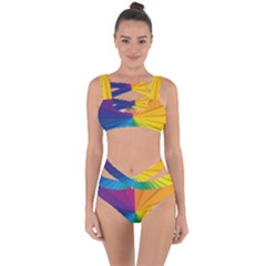Abstract Pattern Lines Wave Bandaged Up Bikini Set  by AnjaniArt