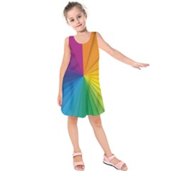 Abstract Pattern Lines Wave Kids  Sleeveless Dress by AnjaniArt