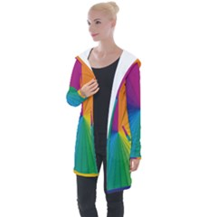 Abstract Pattern Lines Wave Longline Hooded Cardigan by AnjaniArt