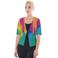 Abstract Pattern Lines Wave Cropped Button Cardigan