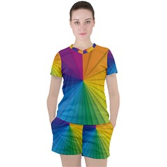 Abstract Pattern Lines Wave Women s Tee And Shorts Set by AnjaniArt
