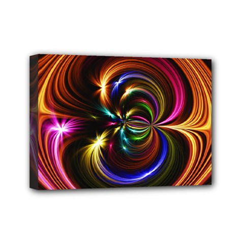Abstract Line Wave Mini Canvas 7  X 5  (stretched)
