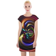 Abstract Line Wave Cap Sleeve Bodycon Dress by AnjaniArt