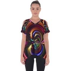 Abstract Line Wave Cut Out Side Drop Tee by AnjaniArt