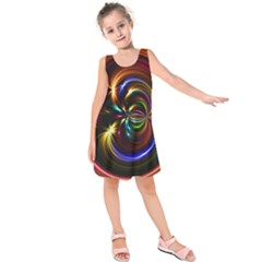Abstract Line Wave Kids  Sleeveless Dress by AnjaniArt