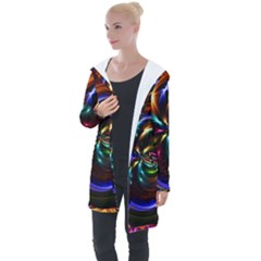 Abstract Line Wave Longline Hooded Cardigan by AnjaniArt