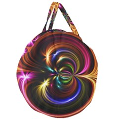 Abstract Line Wave Giant Round Zipper Tote