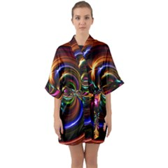 Abstract Line Wave Quarter Sleeve Kimono Robe by AnjaniArt