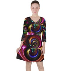 Abstract Line Wave Ruffle Dress by AnjaniArt