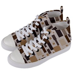 Background Wall Plaid Women s Mid Top Canvas Sneakers by AnjaniArt