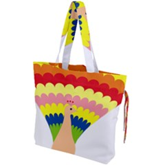 Bird Peacock Pictures Drawstring Tote Bag