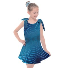 Background Brush Particles Wave Kids  Tie Up Tunic Dress