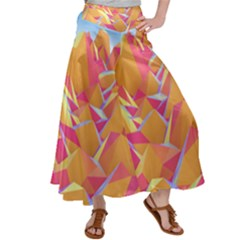 Background Mountains Low Poly Satin Palazzo Pants