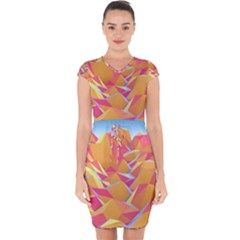 Background Mountains Low Poly Capsleeve Drawstring Dress