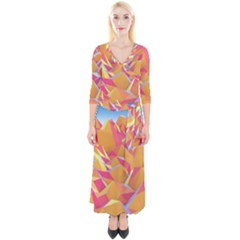Background Mountains Low Poly Quarter Sleeve Wrap Maxi Dress by AnjaniArt