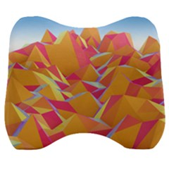 Background Mountains Low Poly Velour Head Support Cushion by AnjaniArt