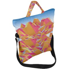 Background Mountains Low Poly Fold Over Handle Tote Bag by AnjaniArt