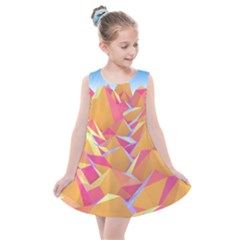 Background Mountains Low Poly Kids  Summer Dress by AnjaniArt