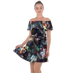 Abstract Texture Off Shoulder Velour Dress by AnjaniArt