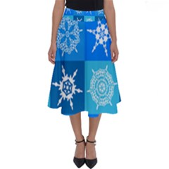 Background Blue Decoration Perfect Length Midi Skirt