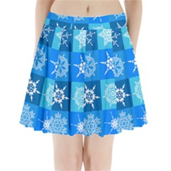 Background Blue Decoration Pleated Mini Skirt by AnjaniArt
