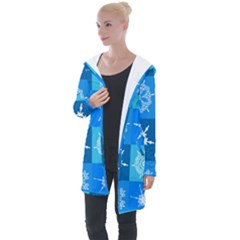 Background Blue Decoration Longline Hooded Cardigan by AnjaniArt