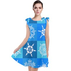 Background Blue Decoration Tie Up Tunic Dress