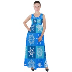 Background Blue Decoration Empire Waist Velour Maxi Dress by AnjaniArt