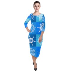 Background Blue Decoration Quarter Sleeve Midi Velour Bodycon Dress by AnjaniArt